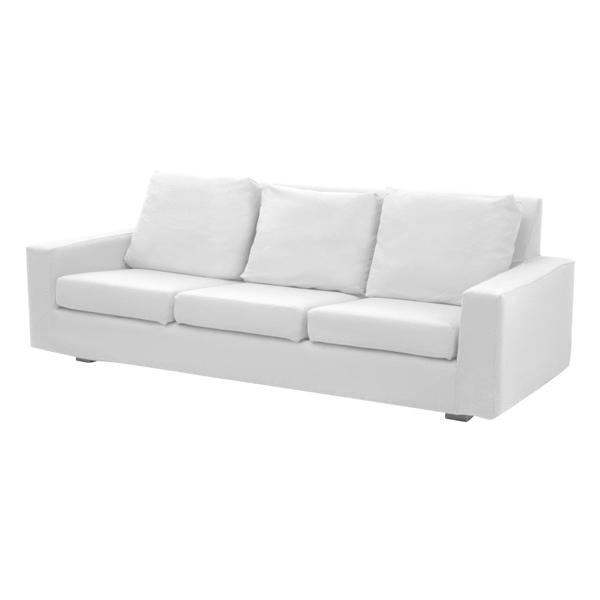 sofá de 3 lugares em corino branco - Limaloc